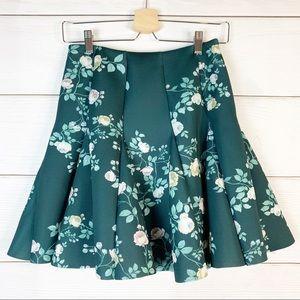 LC Lauren Conrad Runway Green Floral Circle Skirt